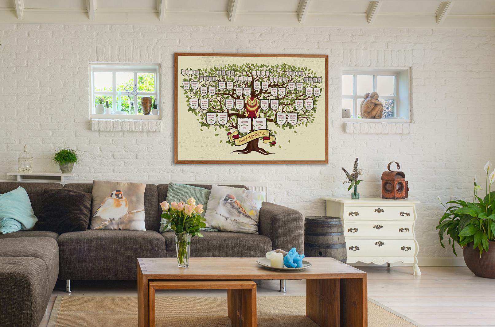 Design-Vorlage für einen Stammbaum im historisch anmutenden Stil, Farbzeichnung
