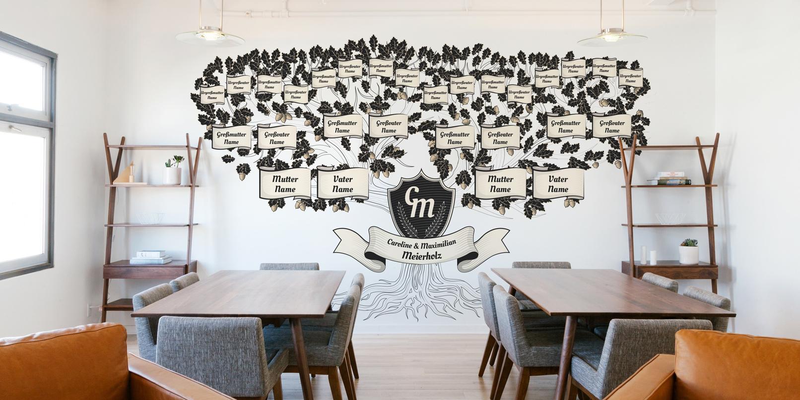 Design-Vorlage für einen Familienstammbaum im historisch anmutenden Stil, Schwarz-Weiß-Zeichnung