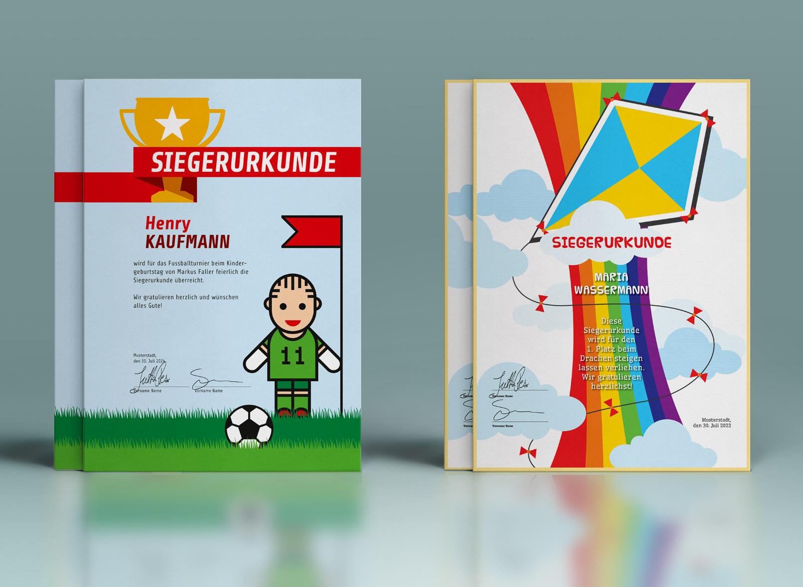 Vorlagen für Urkunden und Zertifikate zum Download, Gestalten und Ausdrucken – Kinder