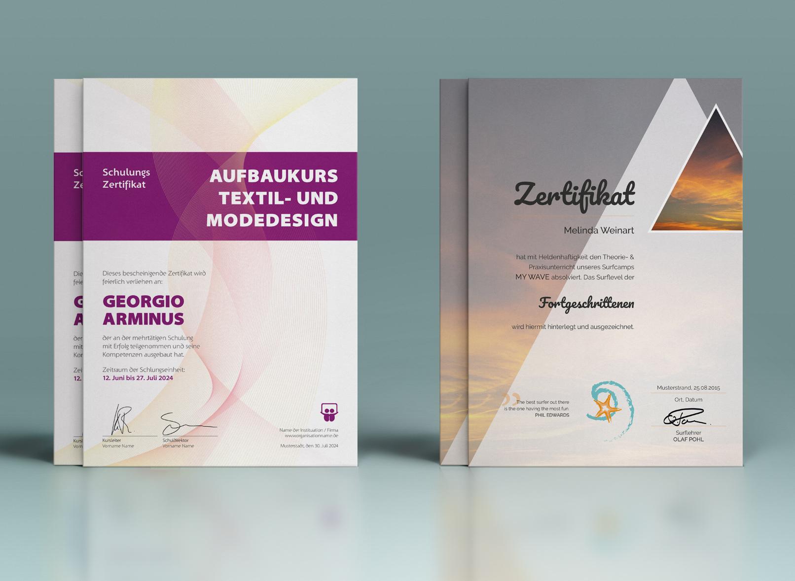 Vorlagen für Urkunden und Zertifikate zum Download, Gestalten und Ausdrucken