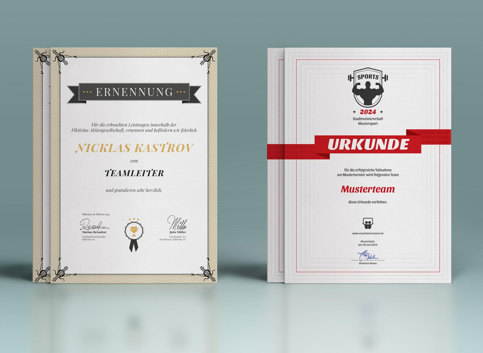 Vorlagen für Urkunden und Zertifikate zum Download, Gestalten und Ausdrucken – Sport