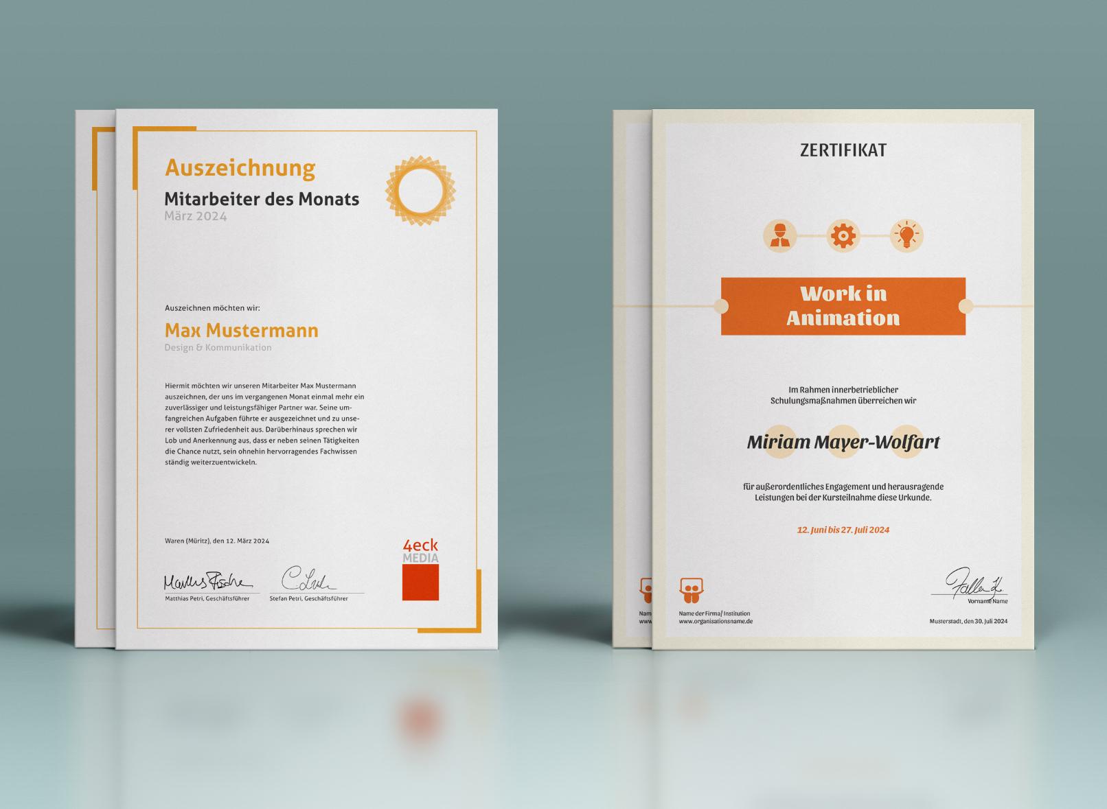 Vorlagen für Urkunden und Zertifikate zum Download, Gestalten und Ausdrucken – Mitarbeiter des Monats