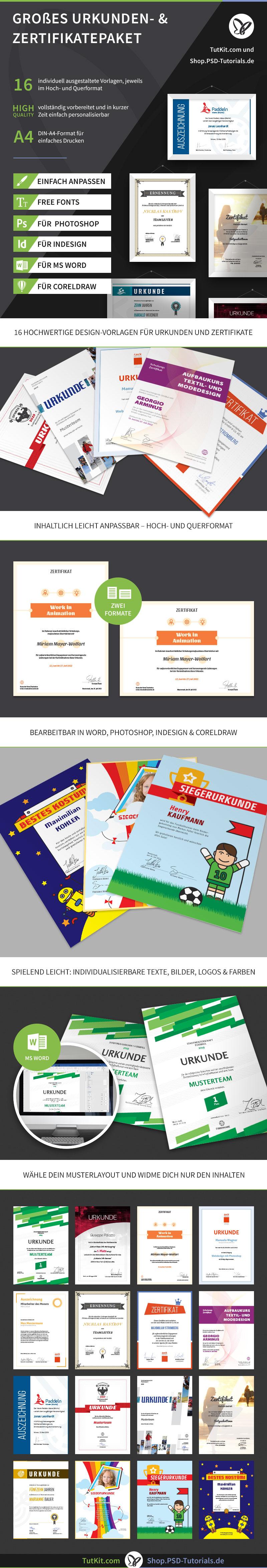 Überblick über die Vorlagen für Urkunden & Zertifikate